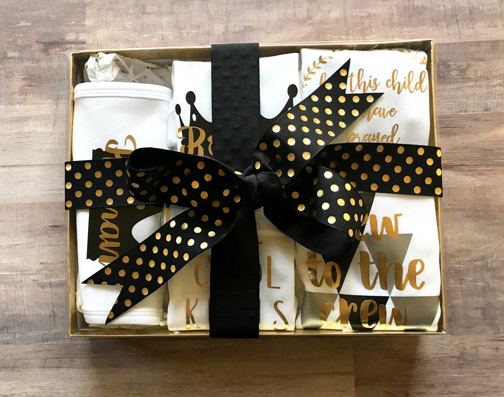 5-Piece Newborn Gift Set - Black/Gold, Gift Set - itsmypartykids