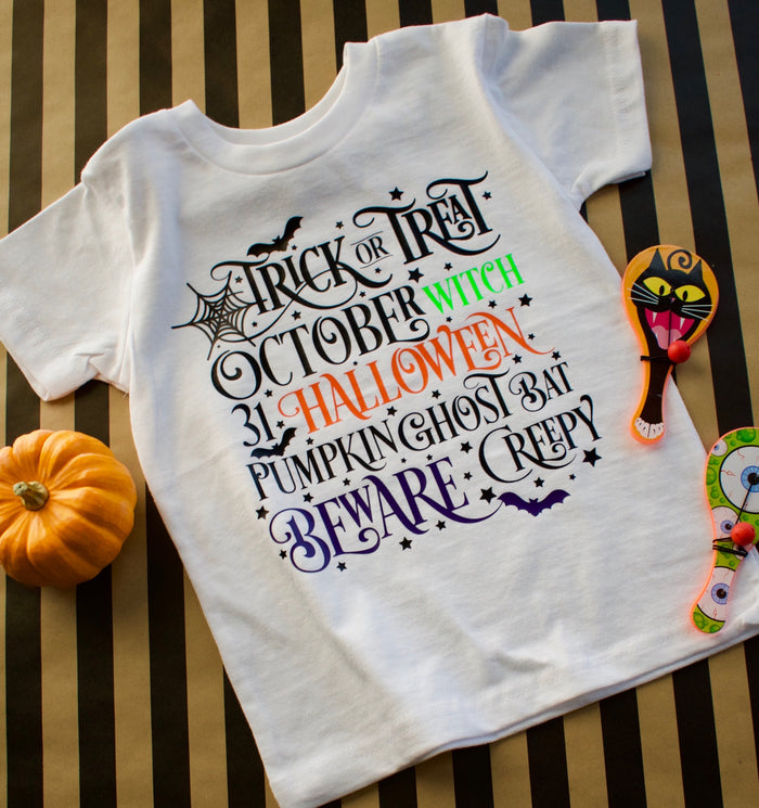 """Trick or Treat"" Onesie or TSHIRT - White, TEES - itsmypartykids"