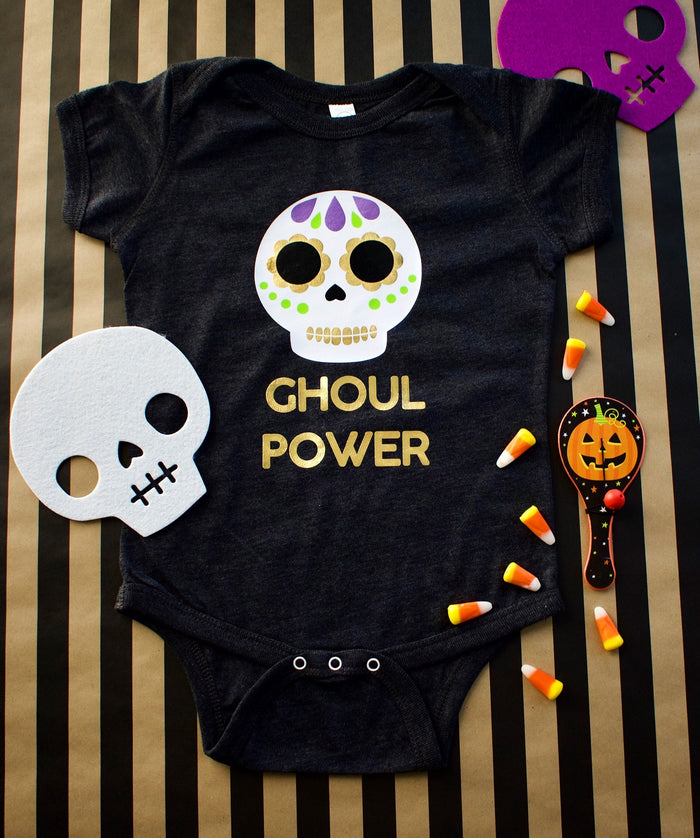 """GHOUL POWER"" Onesie or TSHIRT - DARK GRAY, TEES - itsmypartykids"