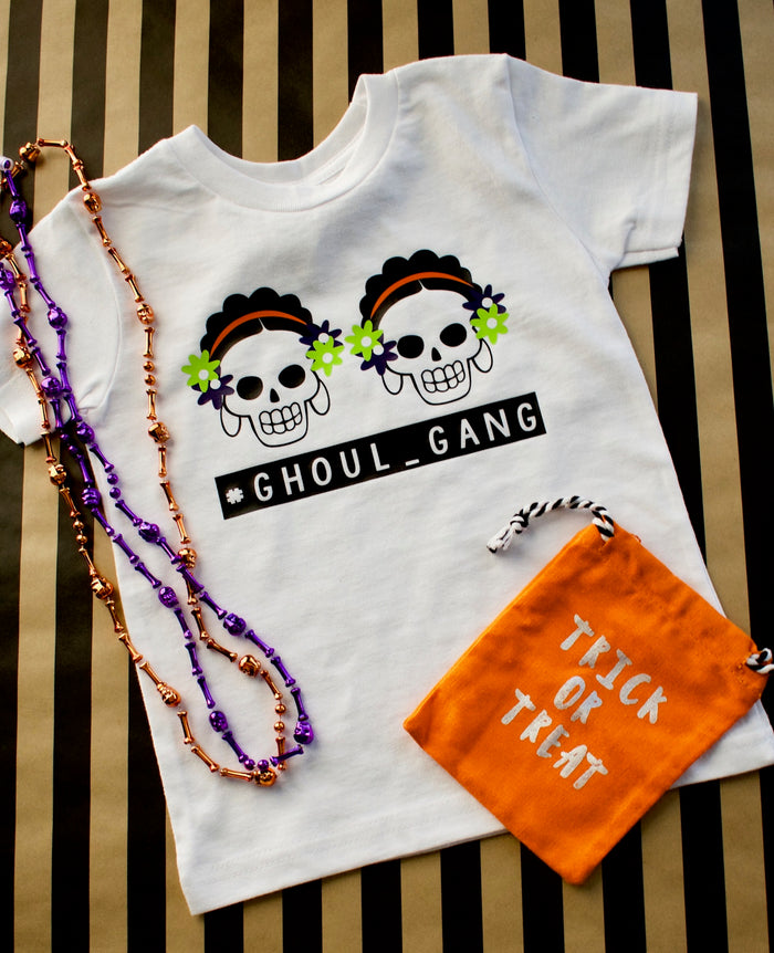 """GHOUL GANG"" Onesie or TSHIRT - White, TEES - itsmypartykids"