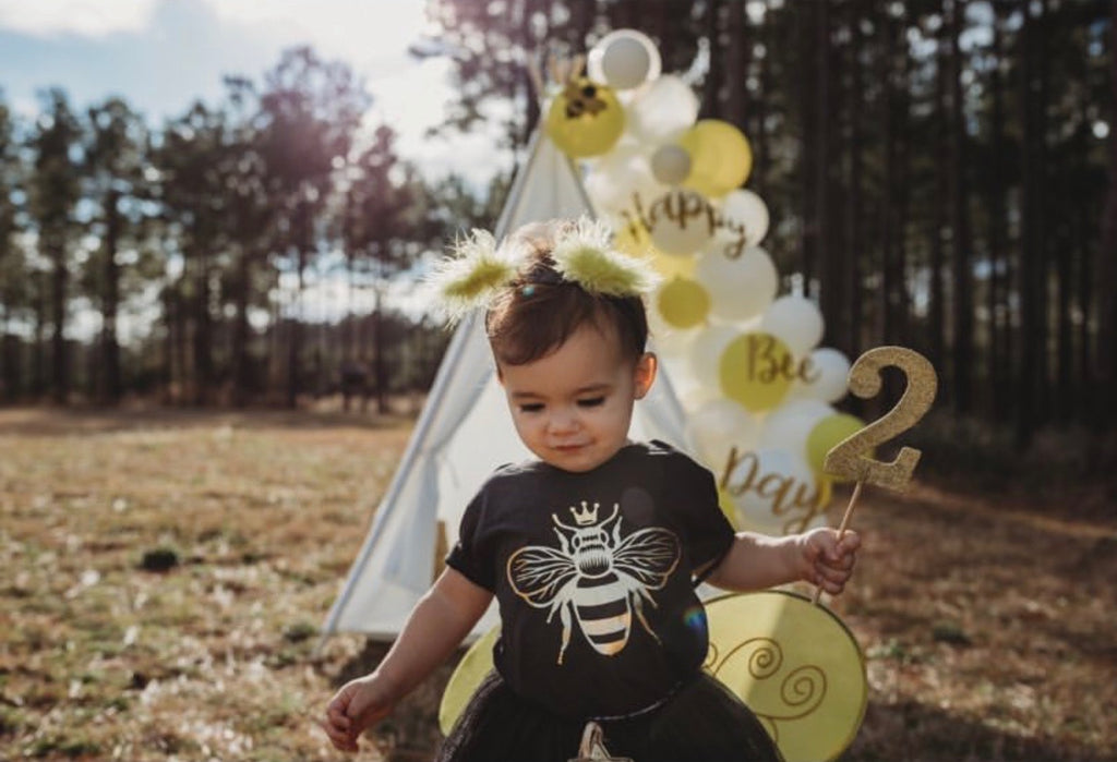 queen-bee-gold-metallic-kids-tee-shirt-baby-onesie-black-bee-birthday-3-It's My Party Kids Boutique