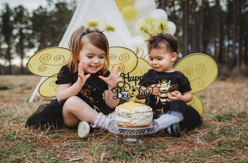 queen-bee-gold-metallic-kids-tee-shirt-baby-onesie-black-bee-birthday-5-It's My Party Kids Boutique