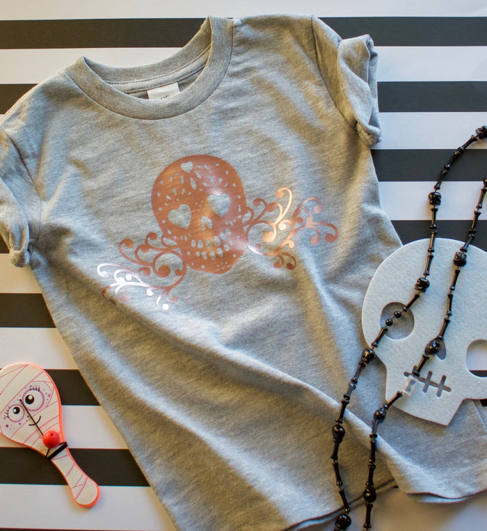 Rose Gold Skull Onesie or Tee - Heather GRAY, TEES - itsmypartykids