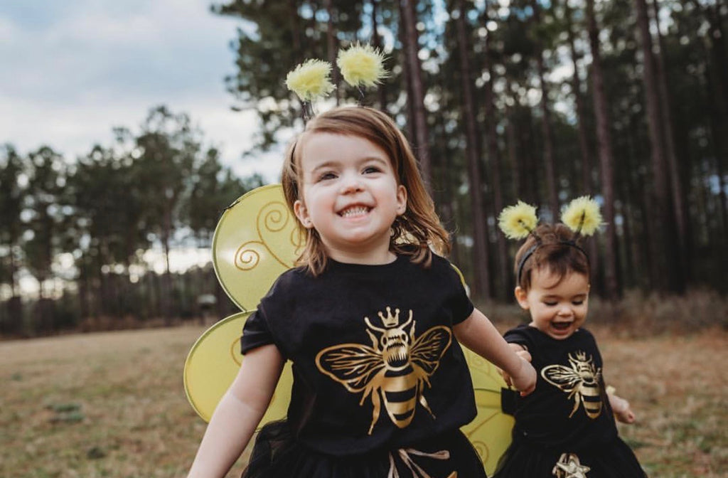 queen-bee-gold-metallic-kids-tee-shirt-baby-onesie-black-bee-birthday-4-It's My Party Kids Boutique