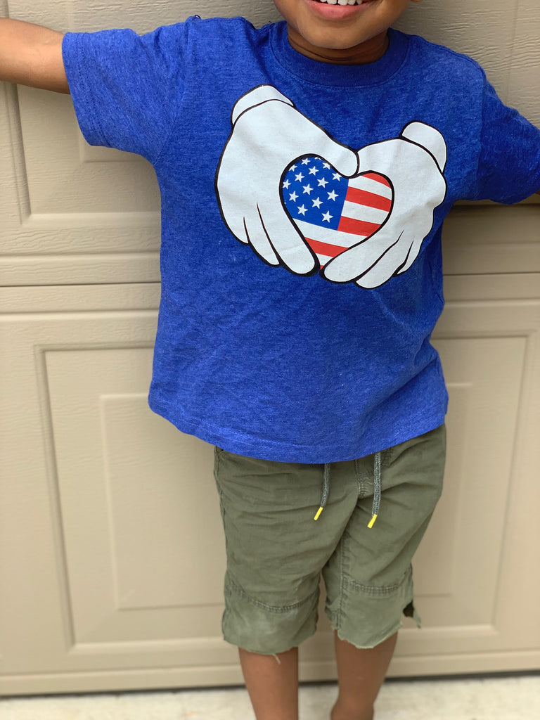 Mouse Patriotic Heart - Blue T-shirt - 4th of July - USA - Flag, TEES - itsmypartykids