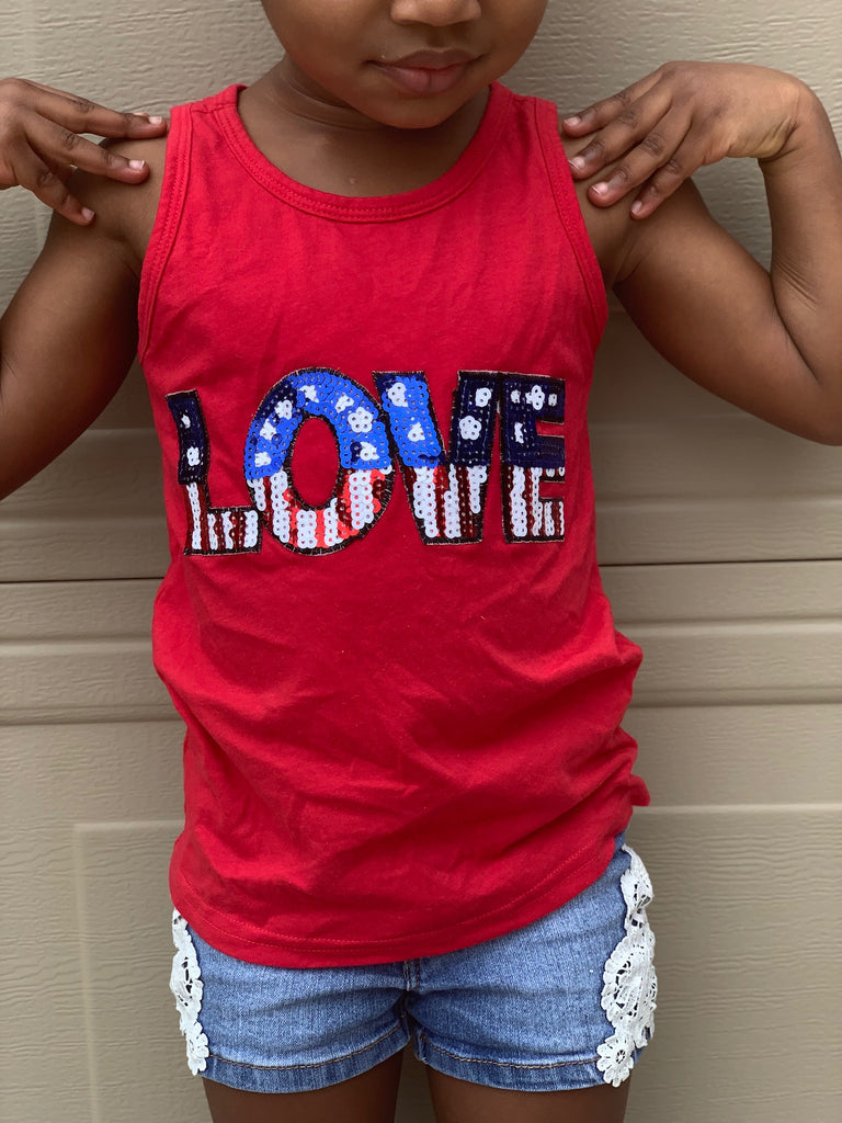 Sequin Love Patriotic - Red Tank T-shirt - 4th of July - USA - Flag, TEES - itsmypartykids