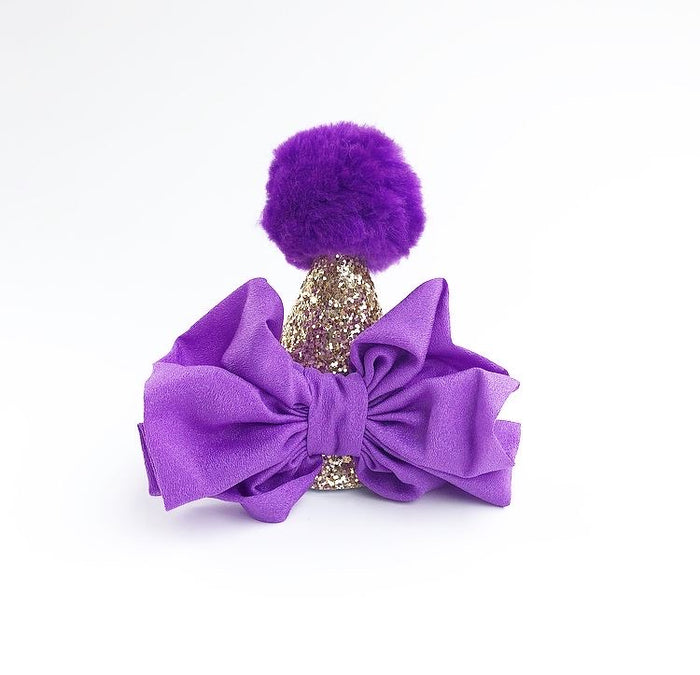 Purple and Gold Pom Pom Bow Glitter Birthday Hat, CROWNS - itsmypartykids