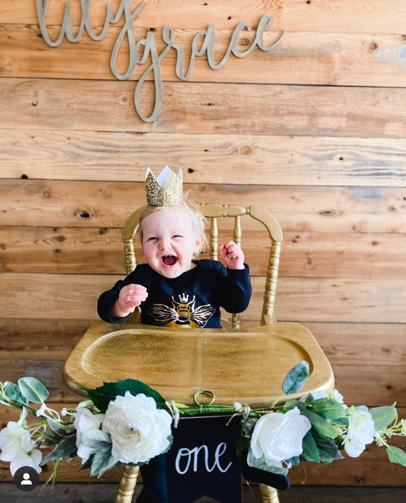 Long-sleeve-metallic-gold-queen-bee-baby-onesie-2-It's My Party Kids Boutique