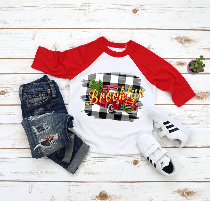 Holiday Personalized Vintage Truck Metallic or Glitter Raglan Tee
