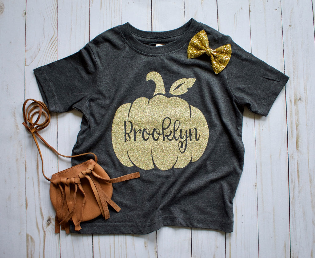 Personalized-Fall-Pumpkin-gold-Glitter-baby-Onesie-or-toddler-T-Shirt-3-It's My Party Kids Boutique