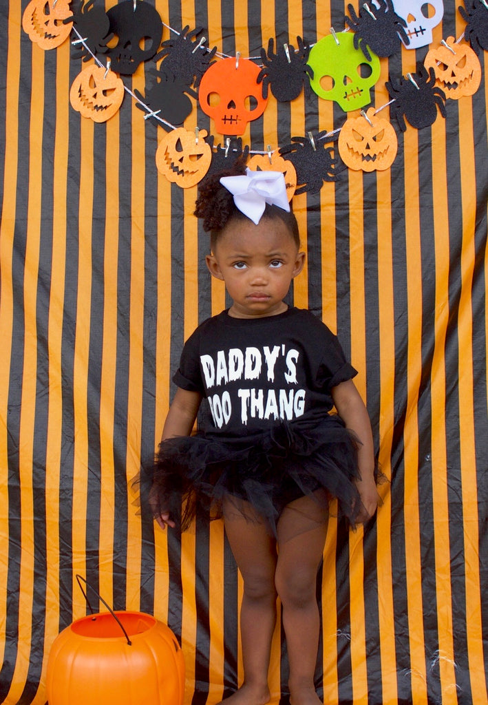Mama's Boo Thang Halloween Glow in the Dark Short Sleeve Toddler Tee Shirt - Black