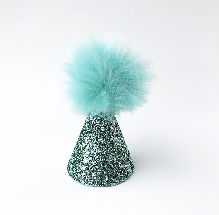 Teal Glitter Birthday Pom Pom Hat, CROWNS - itsmypartykids