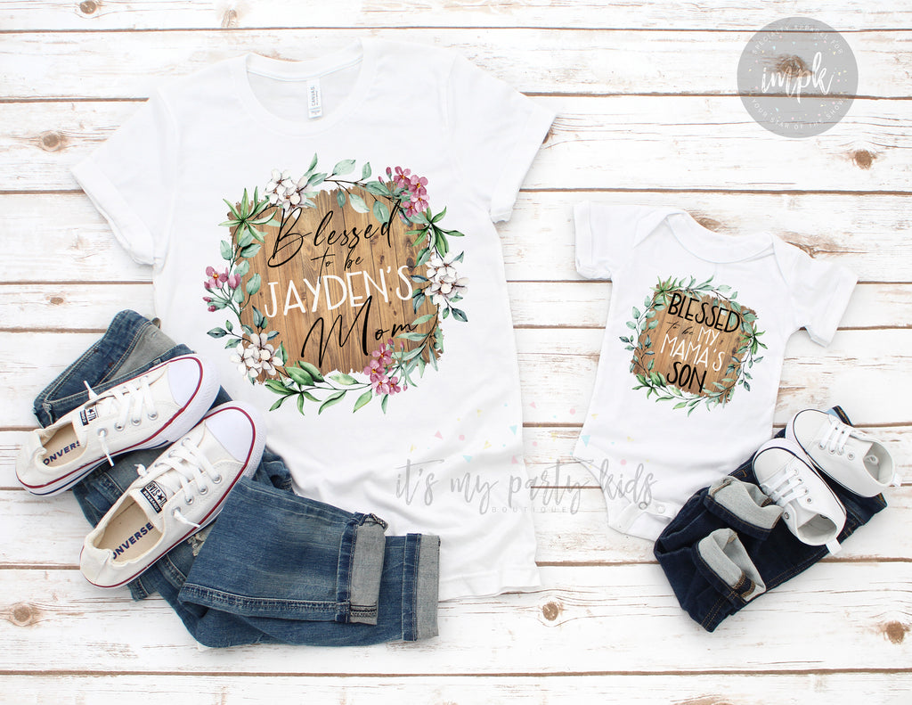 blessed-boy-mom-personalized-name-wood-grain-tee-shirt-mommy-and-me-mothers-day-it's my party kids boutique-3