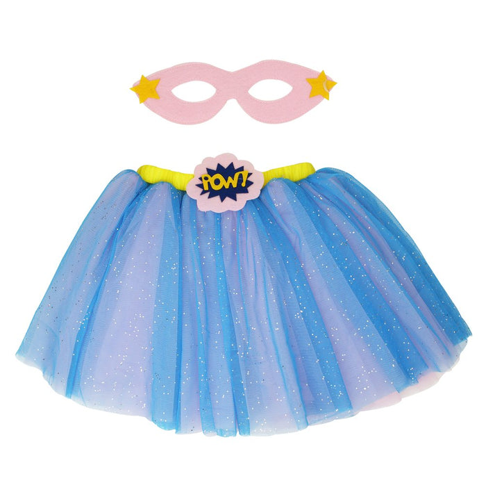 pink blue yellow super hero tutu skirt and mask costume set