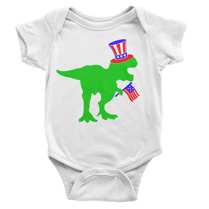 Patriotic Dinosaur - White Onesie - 4th of July - USA - Flag, TEES - itsmypartykids