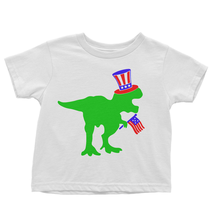 Patriotic Dinosaur - White T-shirt - 4th of July - USA - Flag, TEES - itsmypartykids