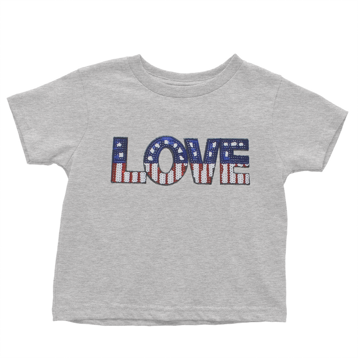 Sequin Love Patriotic - Grey T-shirt - 4th of July - USA - Flag, TEES - itsmypartykids