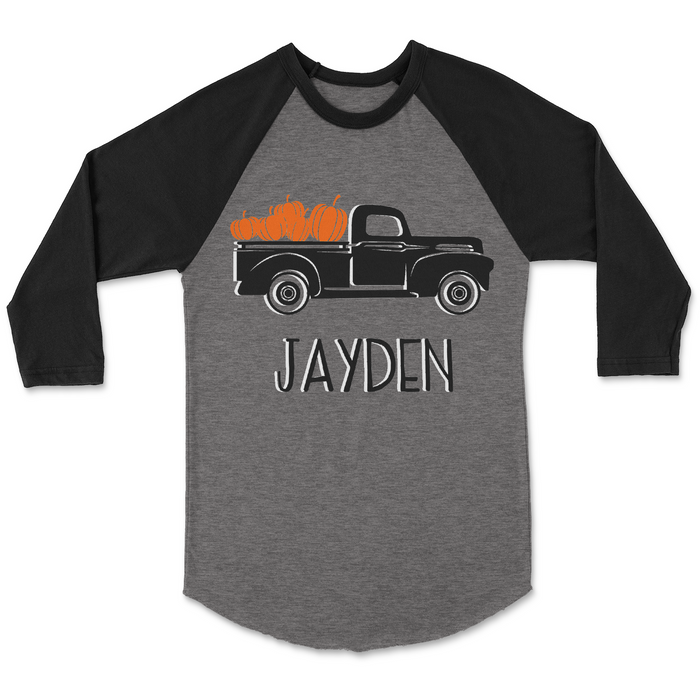 Personalized-harvest-thanksgiving-pumpkin-toddler-raglan-tee-shirt-grey-gray-black-It's My Party Kids Boutique
