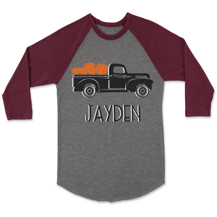 Thanksgiving-pumpkin-vintage-truck-personalized-raglan-tee-shirt-It's My Party Kids Boutique