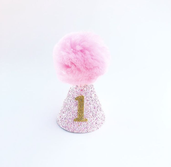 Light Pink Glitter First Birthday Rainbow Pom Pom Hat, CROWNS - itsmypartykids