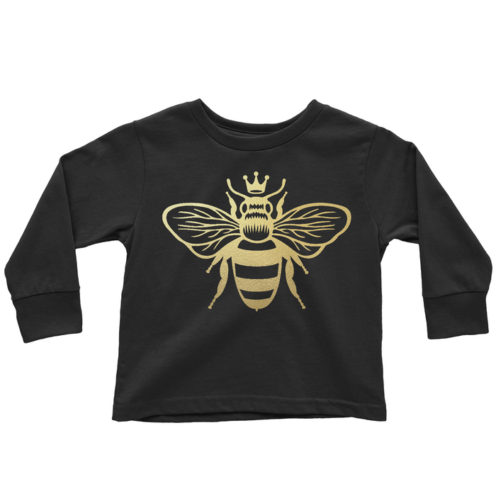 queen-bee-gold-metallic-long-sleeve-toddler-tee-shirt-It's My Party Kids Boutique