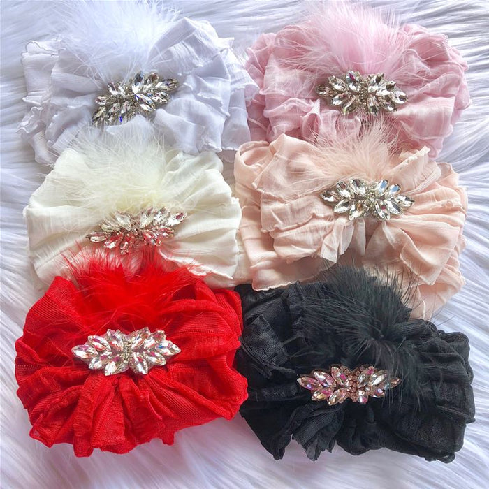 Rhinestone and Feather Stretch Ruffle Headband, HEADBAND - itsmypartykids