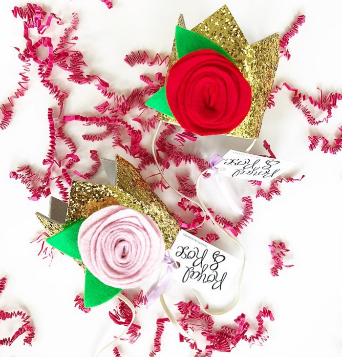 Gold Glitter Red Rosette Mini Party Crown, CROWNS - itsmypartykids