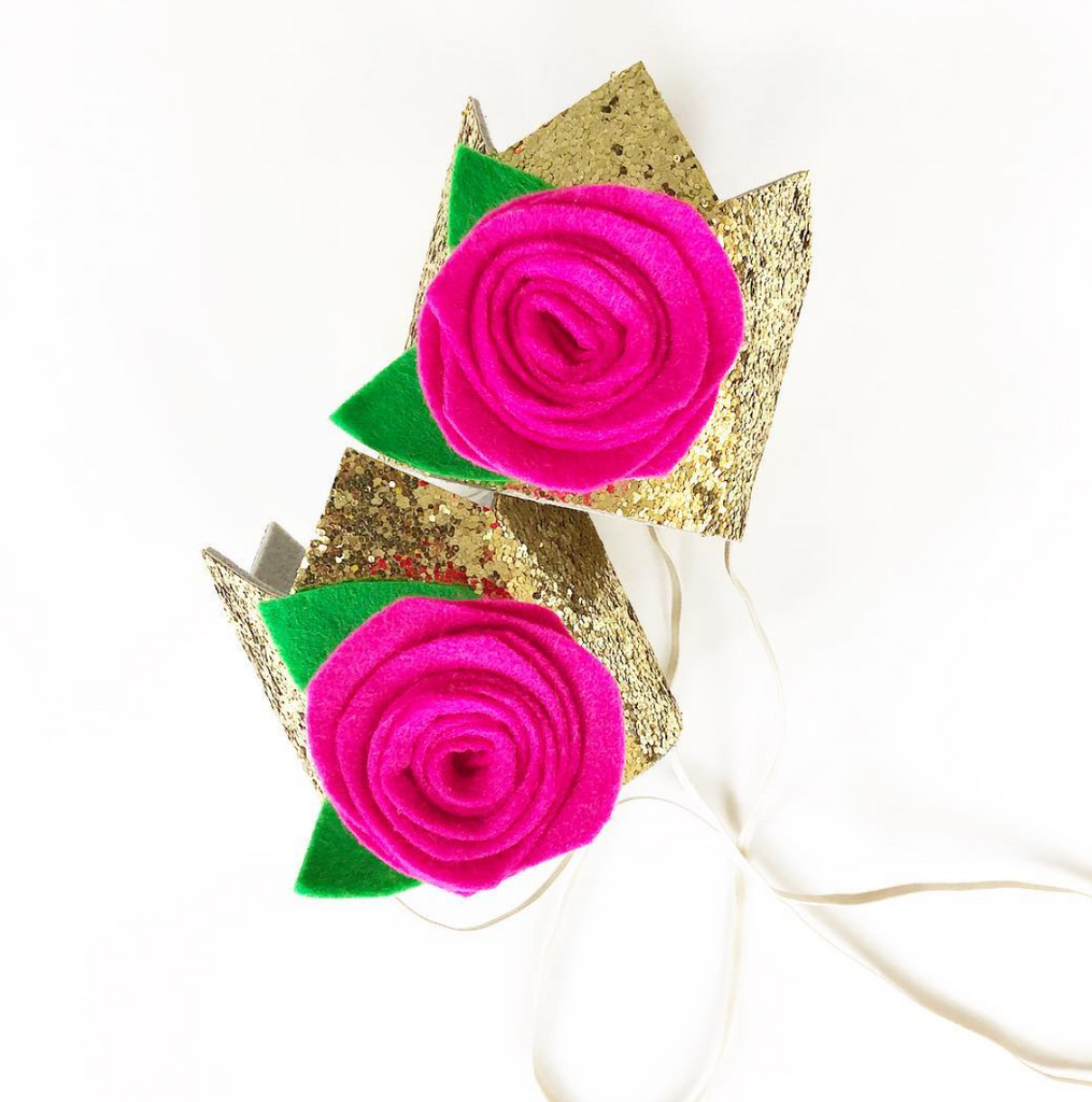 Gold Glitter Hot Pink Rosette Mini Party Crown, CROWNS - itsmypartykids