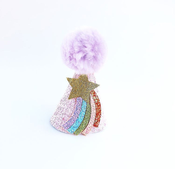Pink Glitter Rainbow Star Pom Pom Birthday Hat, CROWNS - itsmypartykids