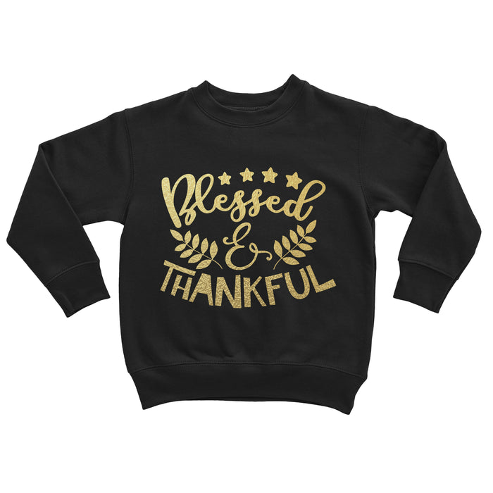 blessed-and-thankful-black-gold-thanksgiving-kids-shirt-sweatshirt-It's My Party Kids Boutique