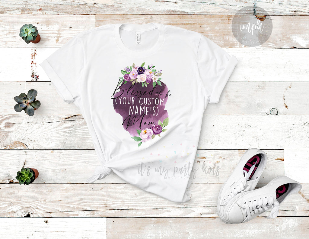 blessed-mama-mommy-and-me-watercolor-floral-personalized-name-mothers-day-tee-shirt-it's my party kids boutique-2