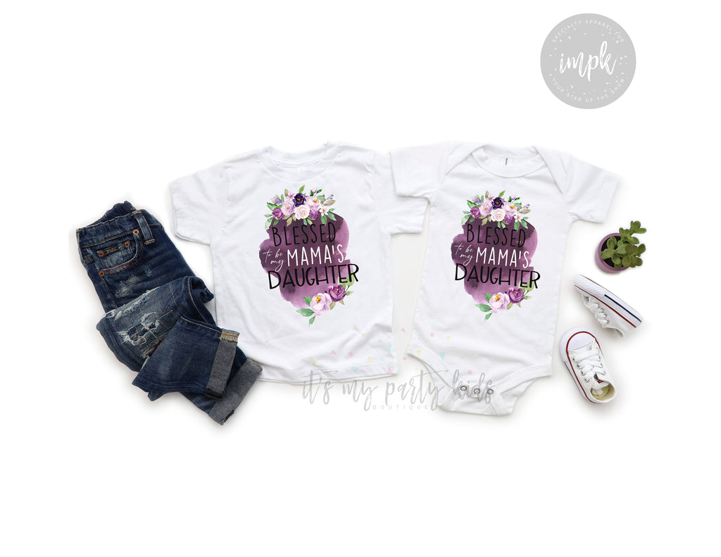 blessed-to-be-my-mamas-daughter-baby-onesie-kids-tshirt-mommy-and-me-mothers-day-it's my party kids boutique-2