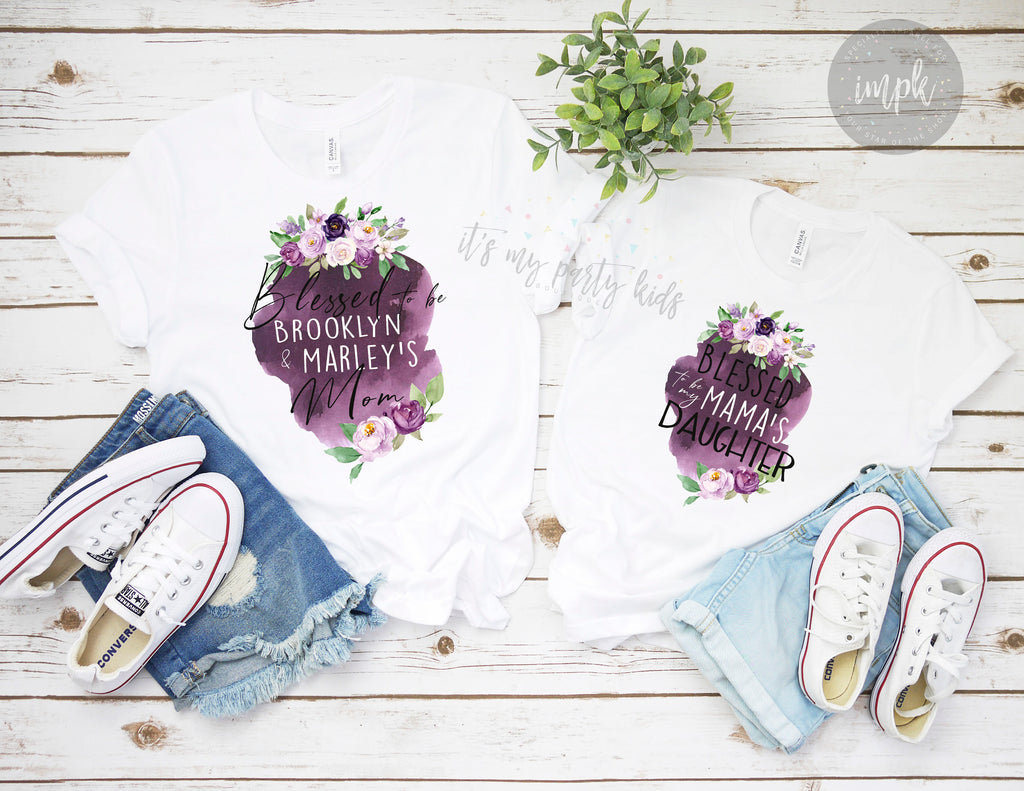 blessed-mama-mommy-and-me-watercolor-floral-personalized-name-mothers-day-tee-shirt-it's my party kids boutique-4