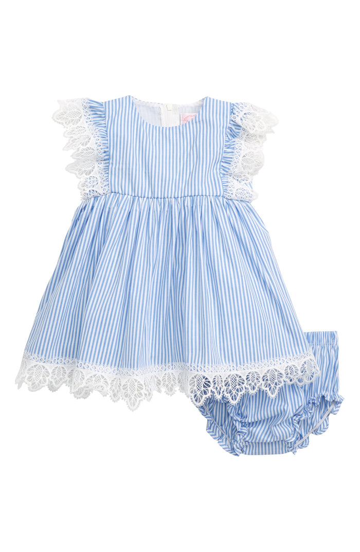 Blue and White Stripe Pinafore Dress Set, Onesie - itsmypartykids