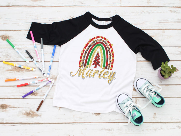 holiday-rainbow-glitter-personalized-custom-kids-raglan-tee-shirt-christmas-its my party kids boutique