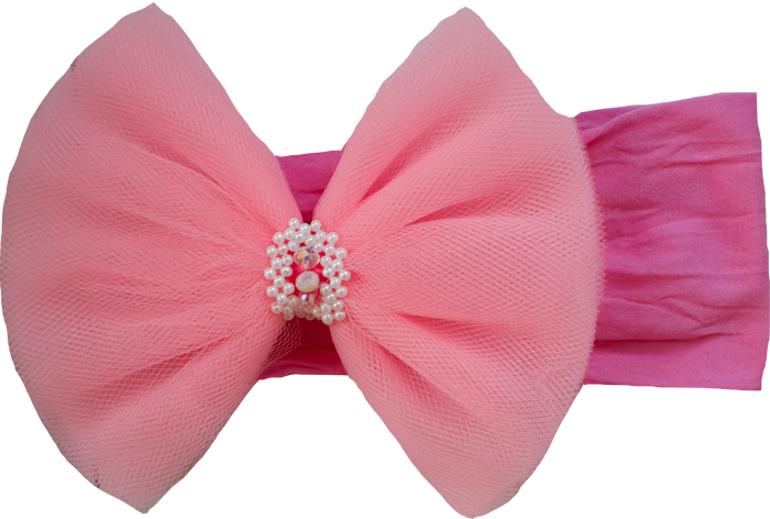 TULLE BOW STRETCH HEADBAND - PINK, HEADBAND - itsmypartykids