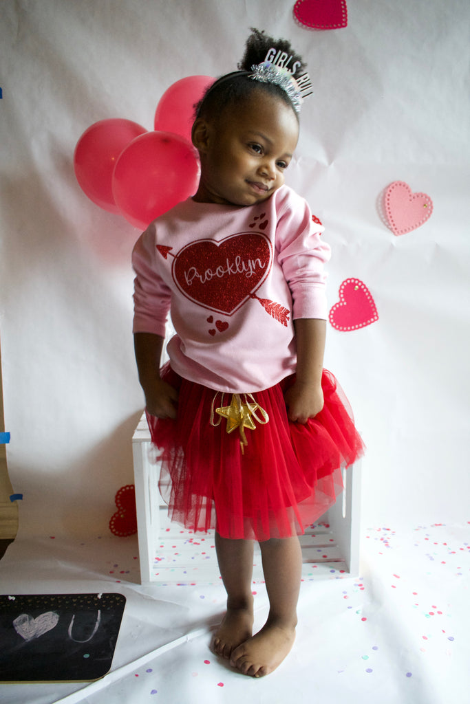 Valentine's Day Personalized Glitter Sweatshirt Cupid Heart Pink girl 2- It's My Party Kids Boutique