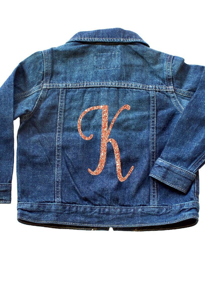 Glitter-monogram-toddler-denim-custom-jacket-It's My Party Kids Boutique