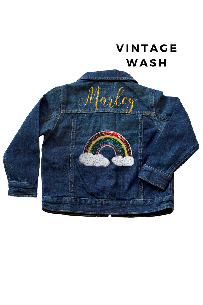 Personalized Glitter Rainbow Sequin Baby and Toddler Denim Jacket