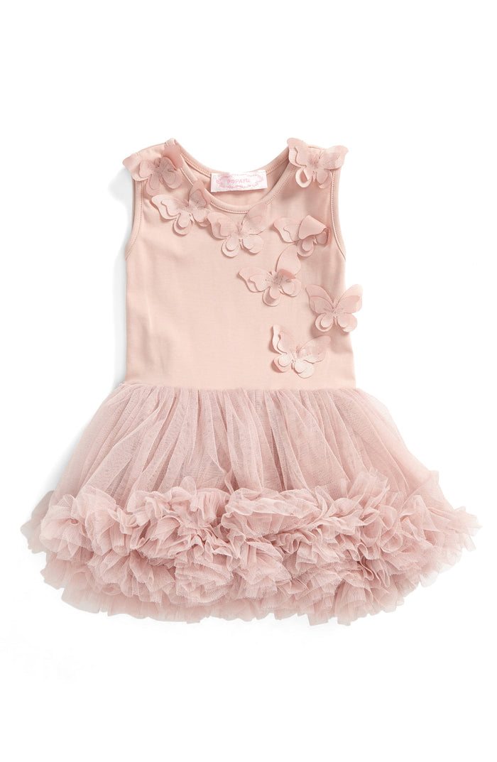 Dusty Pink Butterfly Ruffle Dress, Onesie - itsmypartykids