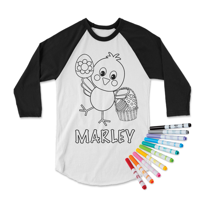 easter-basket-chick-personalized-custom-name-kids-coloring-tee-shirt-its my party kids boutique