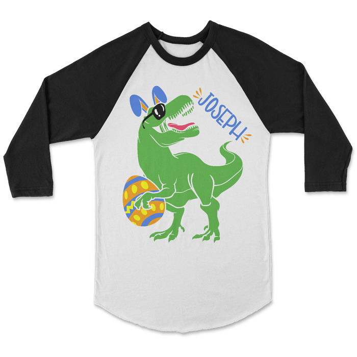 easter-egg-dinosuar-trex-personalized-raglan-tee-shirt-it's my party kids boutique