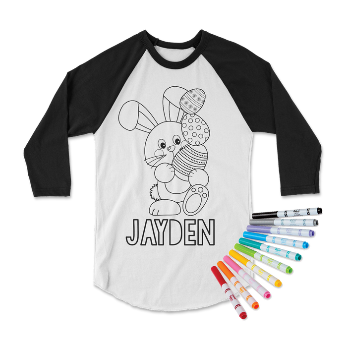 easter-basket-easterbunny-egg-personalized-custom-name-kids-coloring-tee-shirt-its my party kids boutique