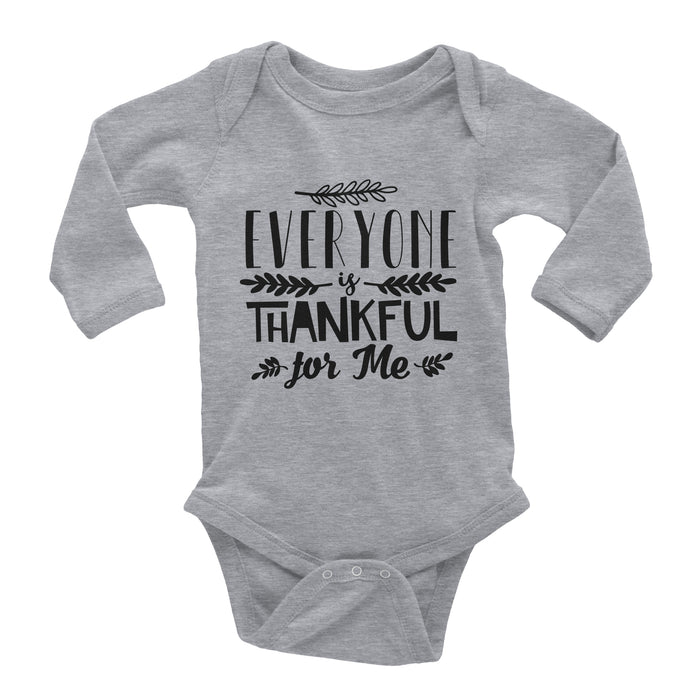 everyone-is-thankful-for-me-long-sleeve-baby-thanksgiving-onesie-grey-It's My Party Kids Boutique