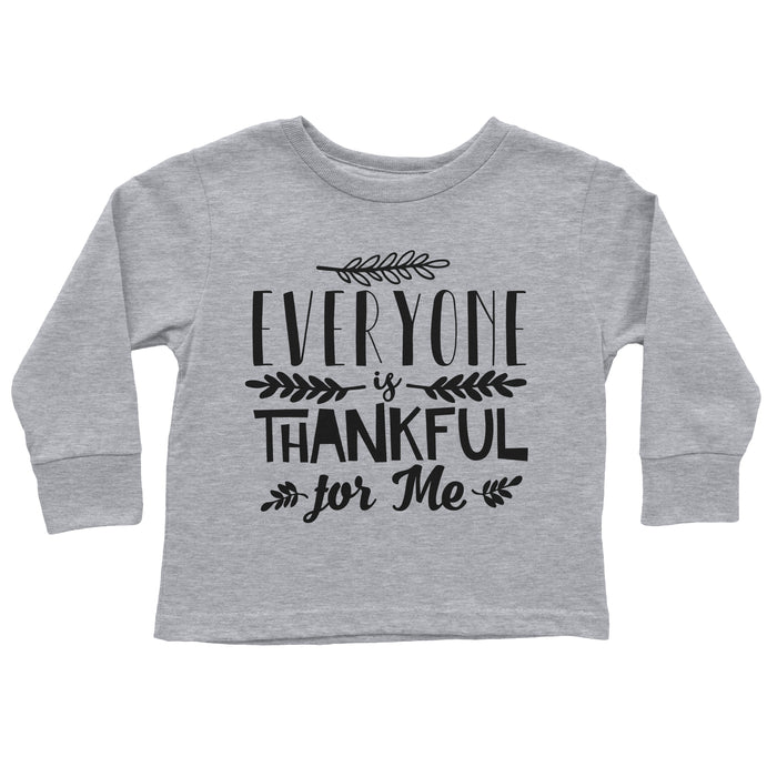 everyone-is-thankful-for-me-long-sleeve-kids-thanksgiving-tee-shirt-grey-It's My Party Kids Boutique