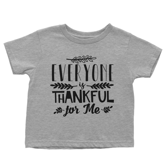 Everyone-is-thankful-for-me-thanksgiving-toddler-short-sleeve-grey-t-shirt-It's My Party Kids Boutique