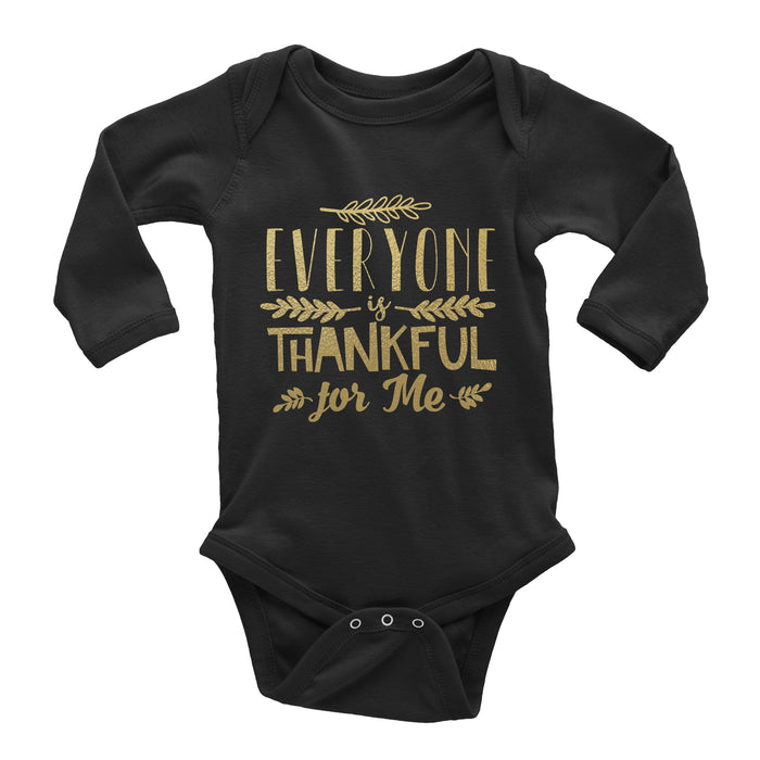 Everyone-is-thankful-for-me-baby-thanksgiving-long-sleeve-onesie-black-metallic-gold-It's My party Kids Boutique