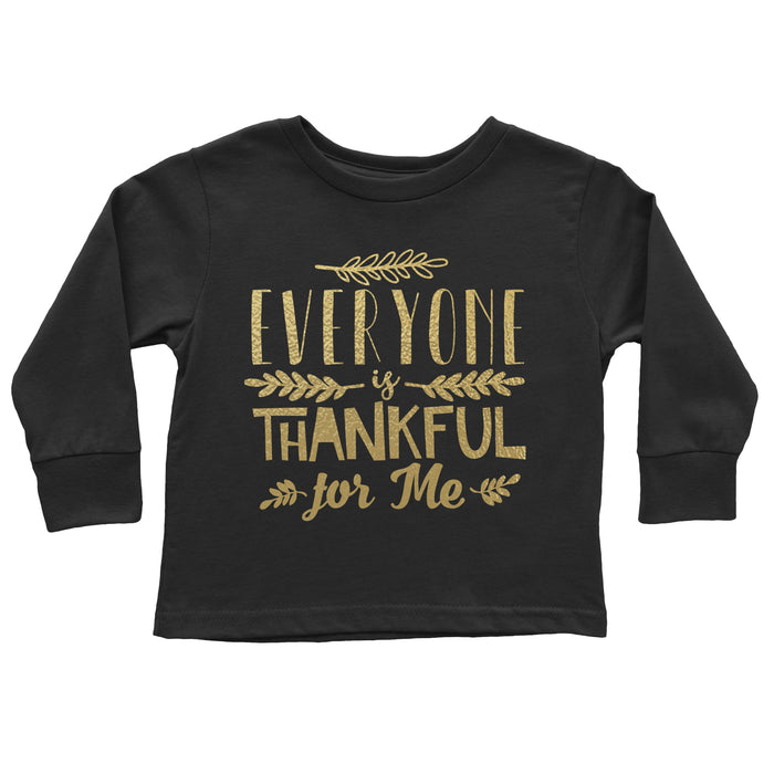 Everyone-is-thankful-for-me-kids-thanksgiving-long-sleeve-tee-shirt-black-metallic-gold-It's My party Kids Boutique