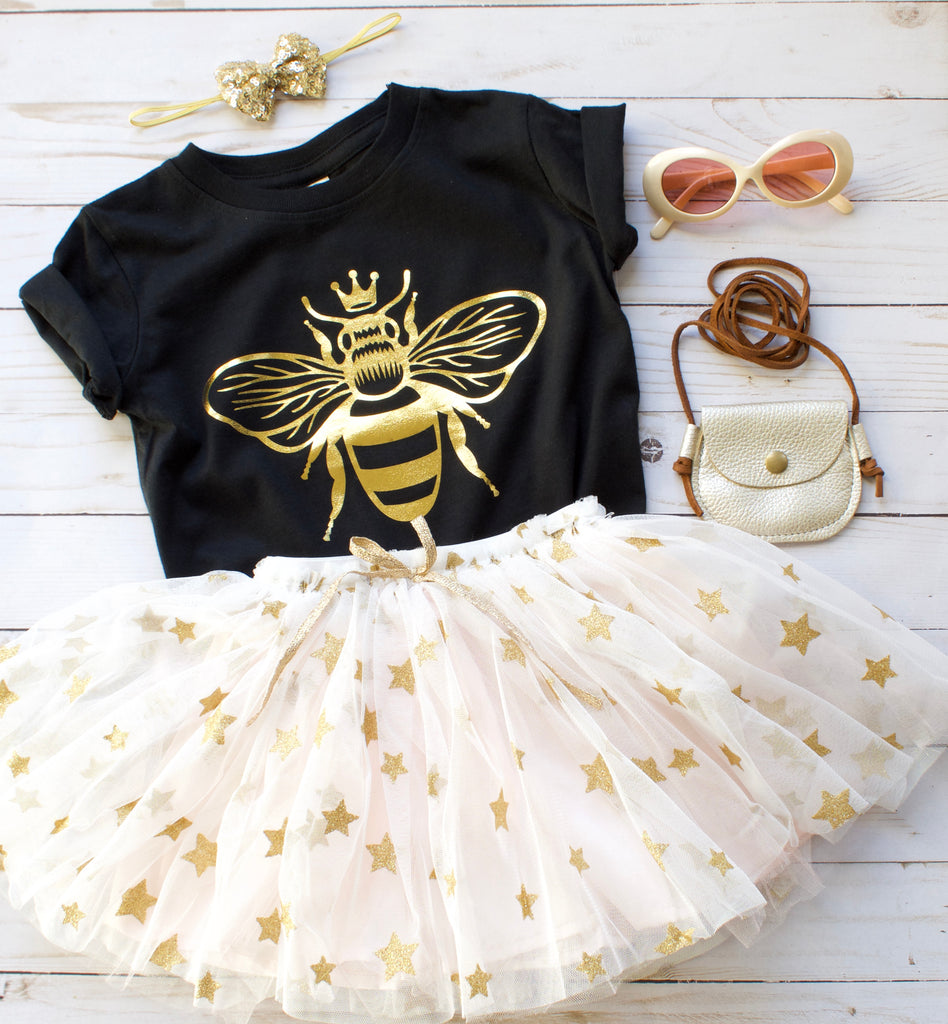 queen-bee-gold-metallic-kids-tee-shirt-baby-onesie-black-bee-birthday-2-It's My Party Kids Boutique