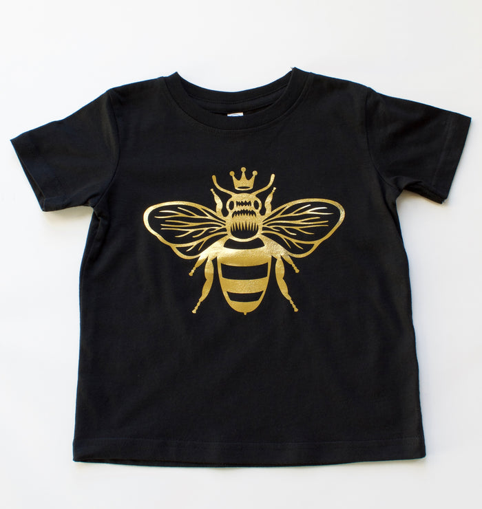 queen-bee-gold-metallic-kids-tee-shirt-baby-onesie-black-bee-birthday-It's My Party Kids Boutique